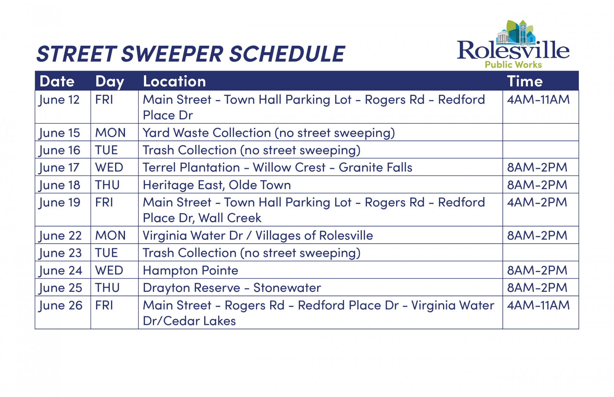 Sweeper Schedule