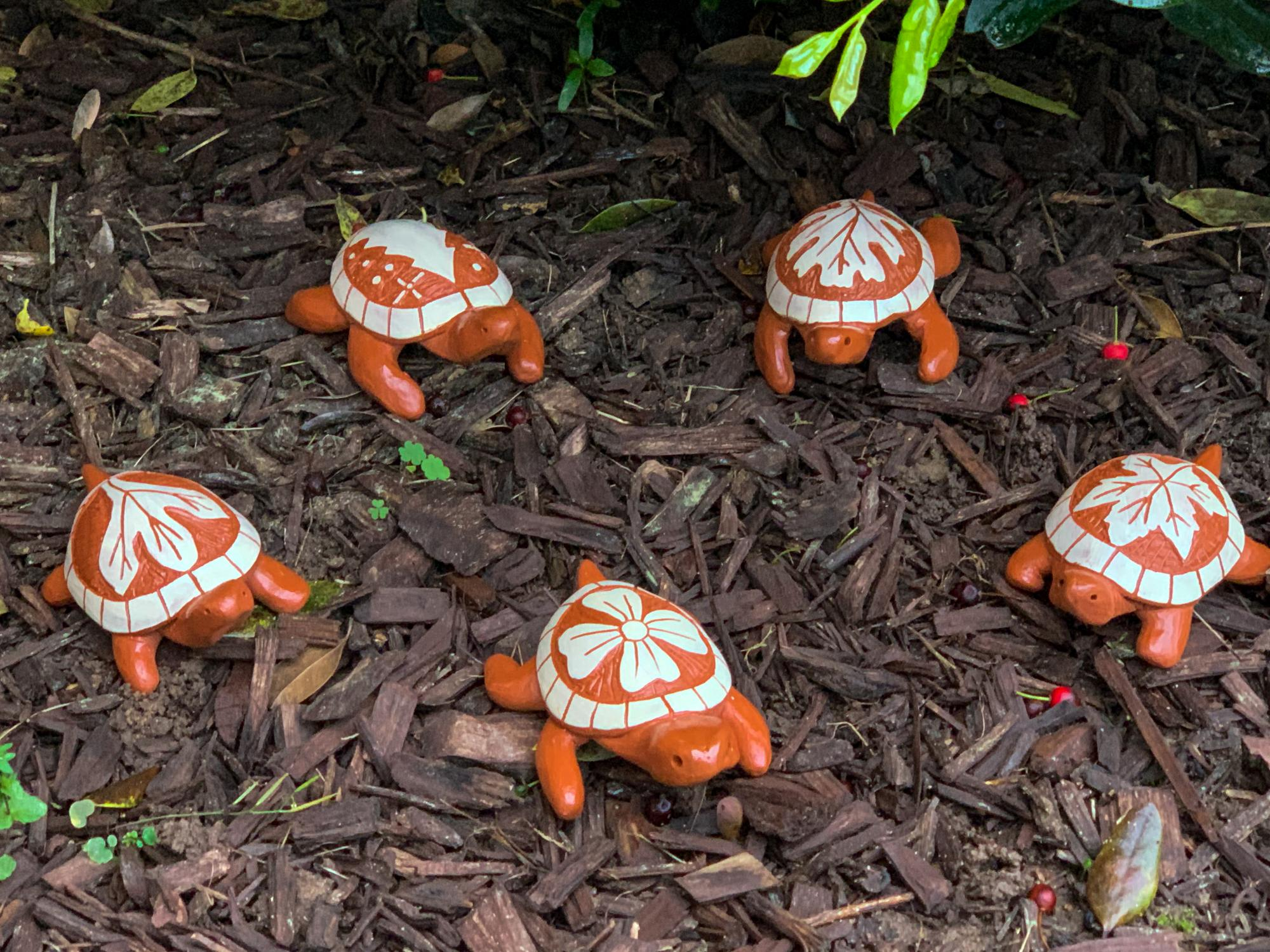 group of clay turtles